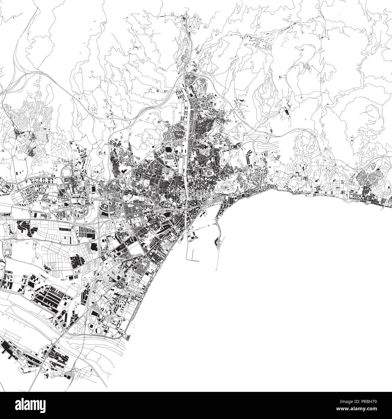 Malaga Karte Spanien.Karte Von Malaga Satelliten Schwarzen Und Weissen Karte