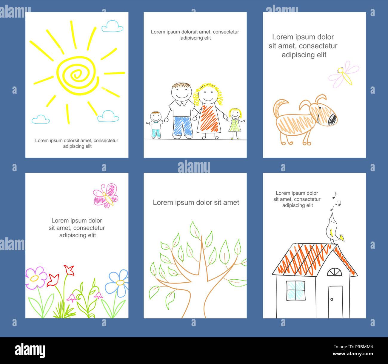 Sketch Children Postcard Stockfotos & Sketch Children Postcard ...