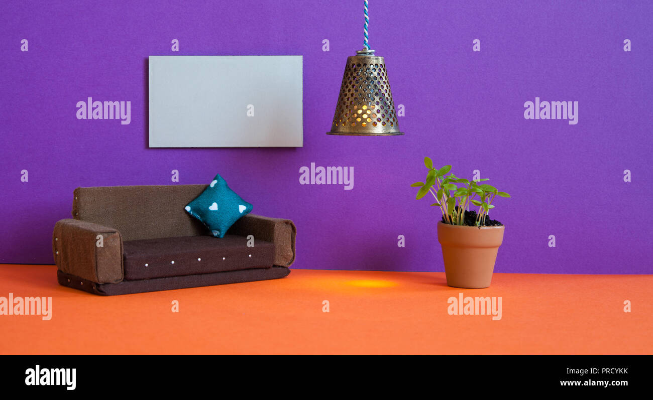 Minimalistische Wohnzimmer Möbel Interieur. Einfaches Design Braun ...