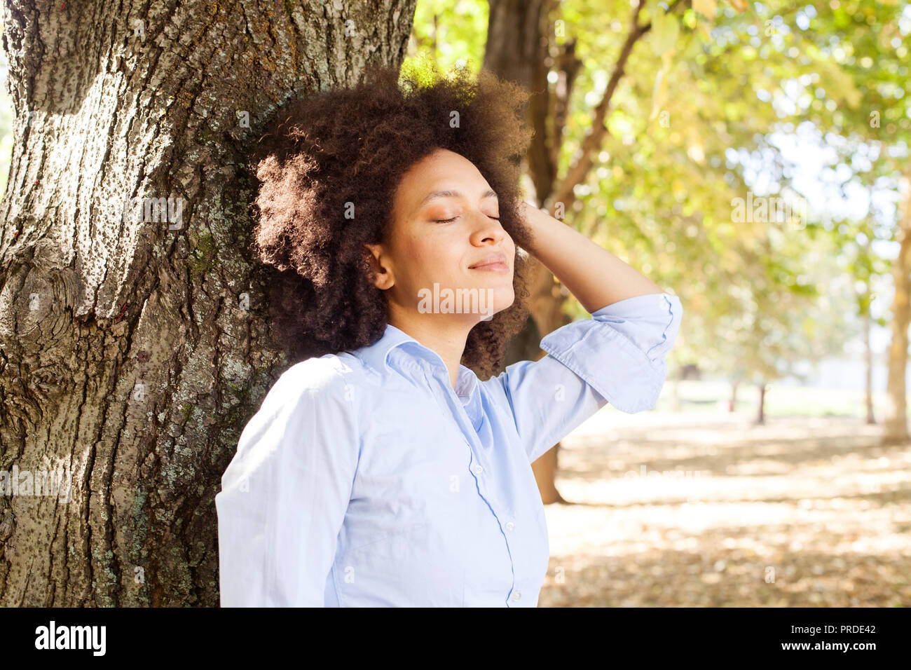 Outdoor Portrait von glücklich schöne afrikanische amerikanische Frau in der Natur, weibliche in blauen Shirts genießen Sie den Sommer Tag, lehnte sich auf Baum im Park, geschlossenen Augen Stockfoto