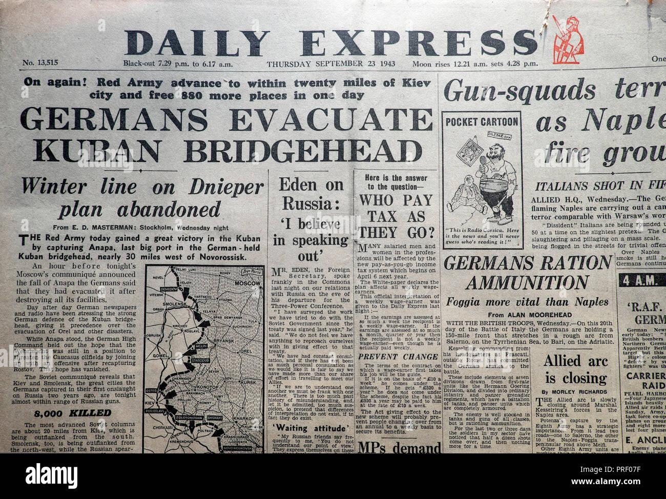 """Startseite Schlagzeilen der Daily Express Zeitung """"Deutsche evakuieren Kuban Brückenkopf' London England UK 23. September 1943 Historisches Archiv Stockbild"""