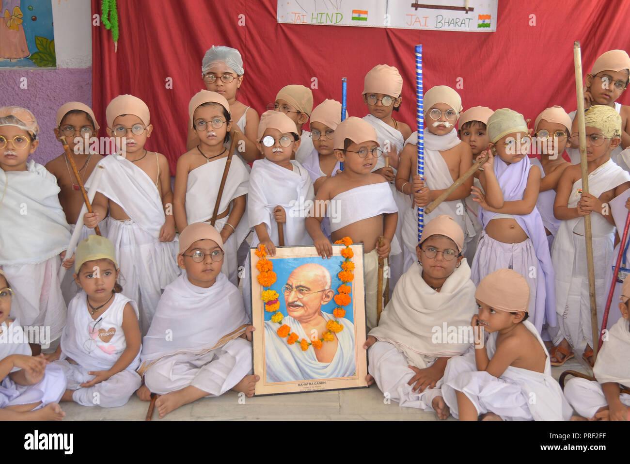 Ajmer Indien 01 Okt 2018 Kinder Gekleidet Wie Mahatma