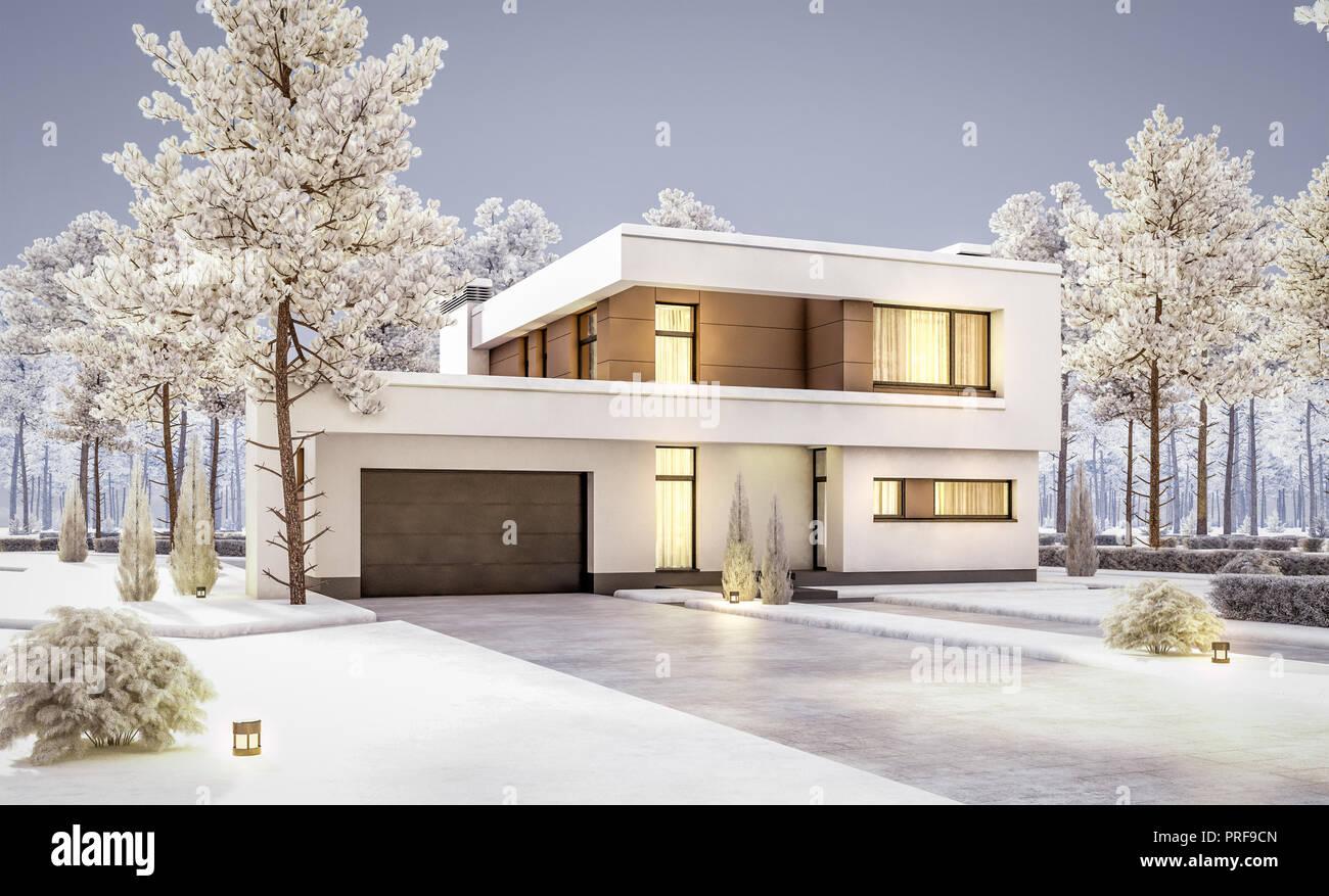 Bekannt 3D-Rendering von Modernes und gemütliches Haus mit Garage zum LP81