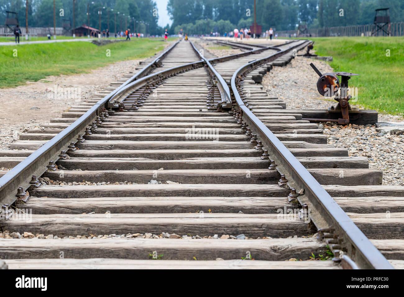 Railway Track Switches in Konzentrations- und Vernichtungslager Auschwitz errichtet und von Nazi-deutschland in deutschen Betrieben - Polen besetzt durch die Dritte Re Stockbild