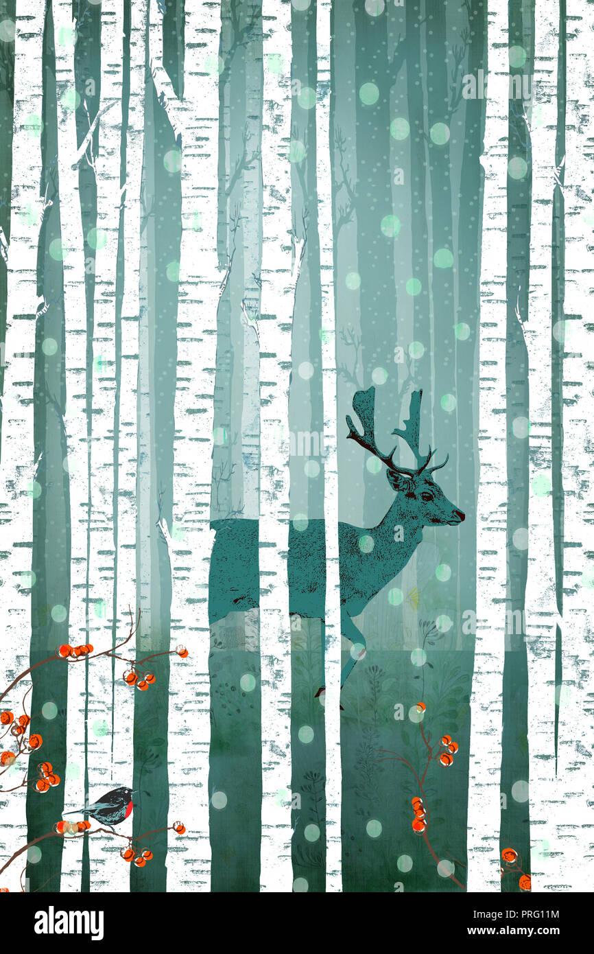 Hirsche mit geweihen steht in der Mitte einer Birke Wald mit Schnee, weihnachtliche Atmosphäre Stockbild
