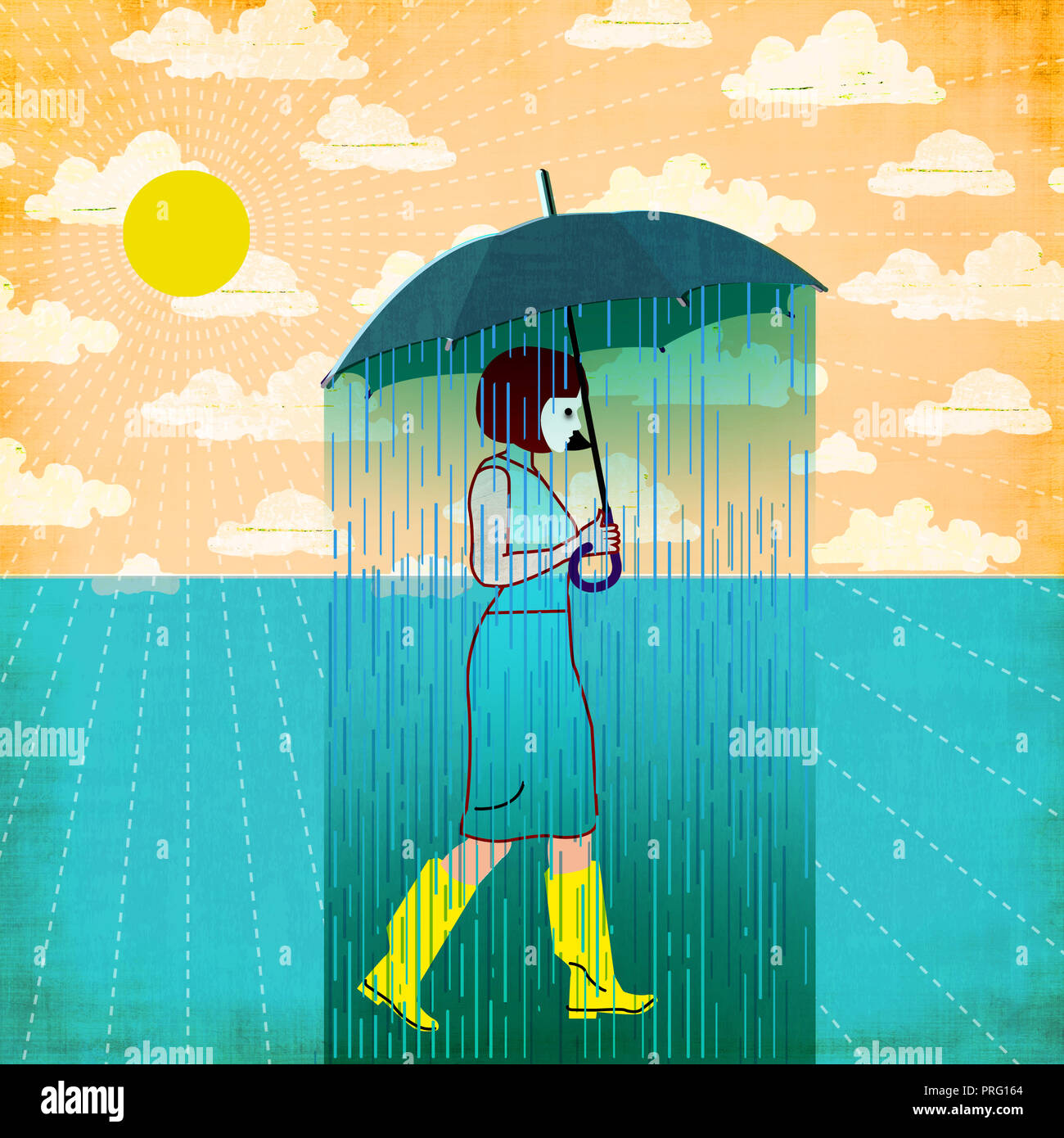 Frau mit Regenschirm Stockbild