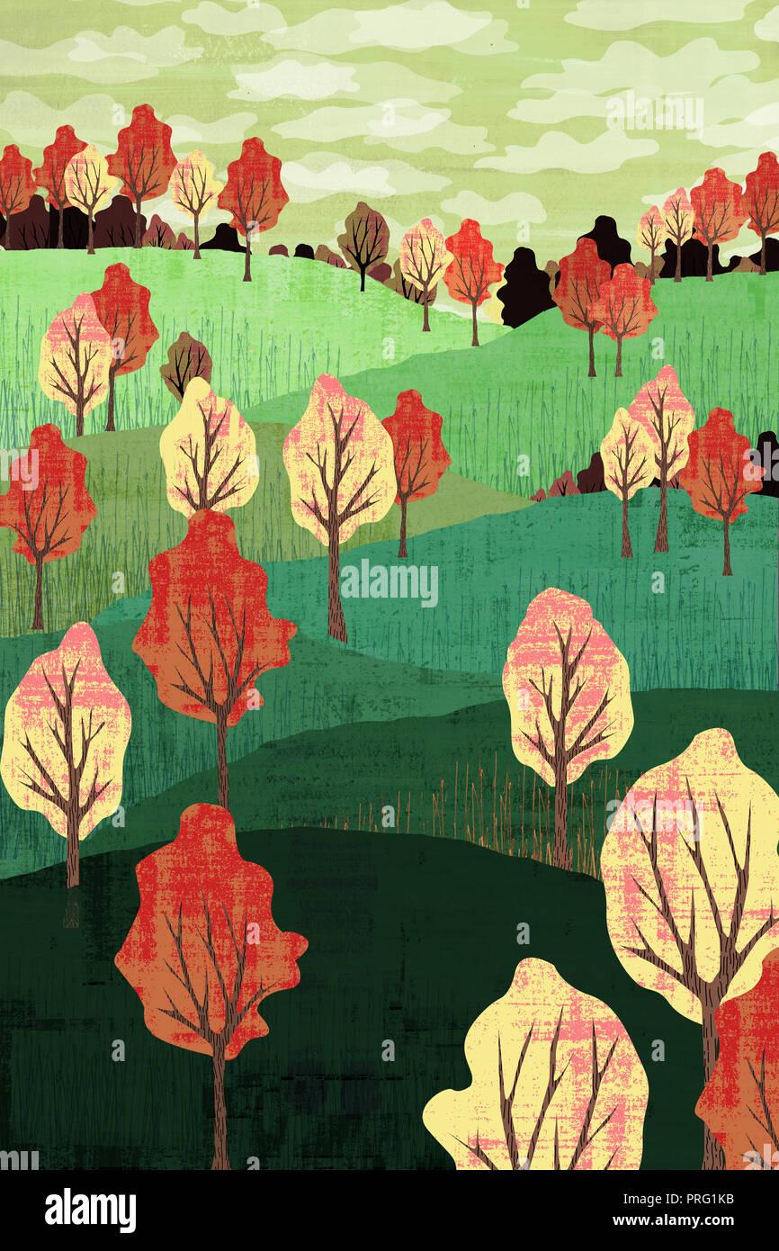 Hillt Herbst Landschaft mit Bäumen Stockbild