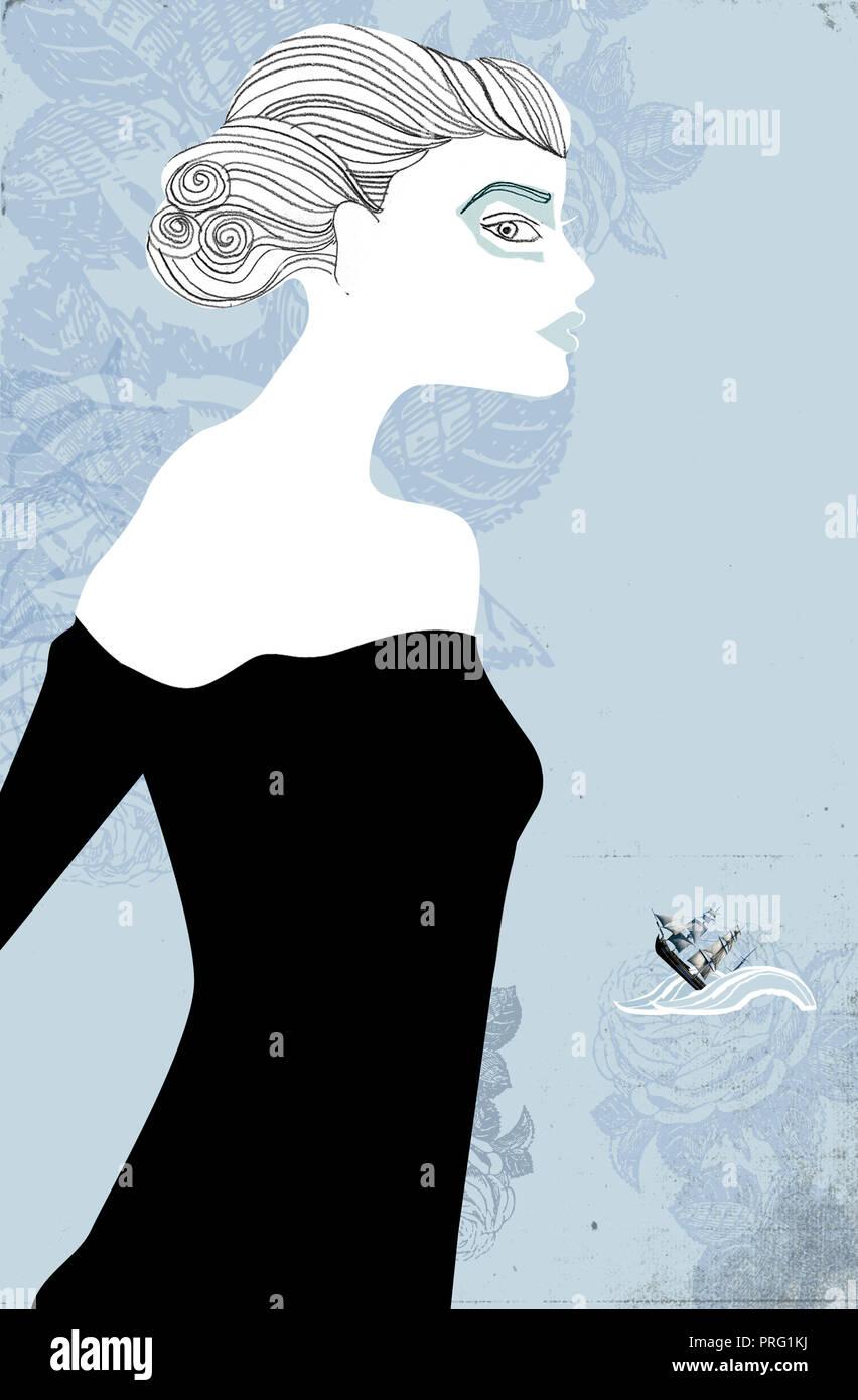 Portrait von Frau mit schwarzen Kleid Stockbild