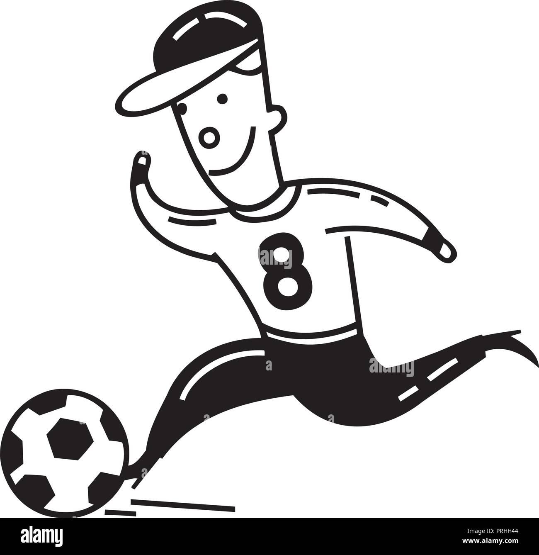 Junge Spielt Fussball Cartoon Vector Illustration Vektor