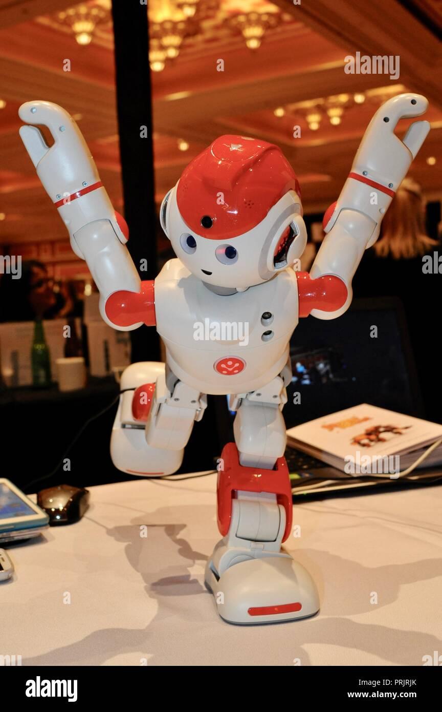 Tanzende Roboter offenbart bei Demonstration auf der CES (Consumer Electronics Show), die größte Messe der Welt zeigen, in Las Vegas, USA statt. Stockfoto