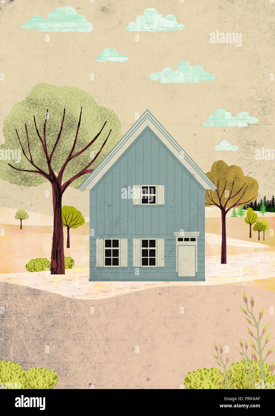Skandinavische Haus im Herbst Landschaft Stockbild