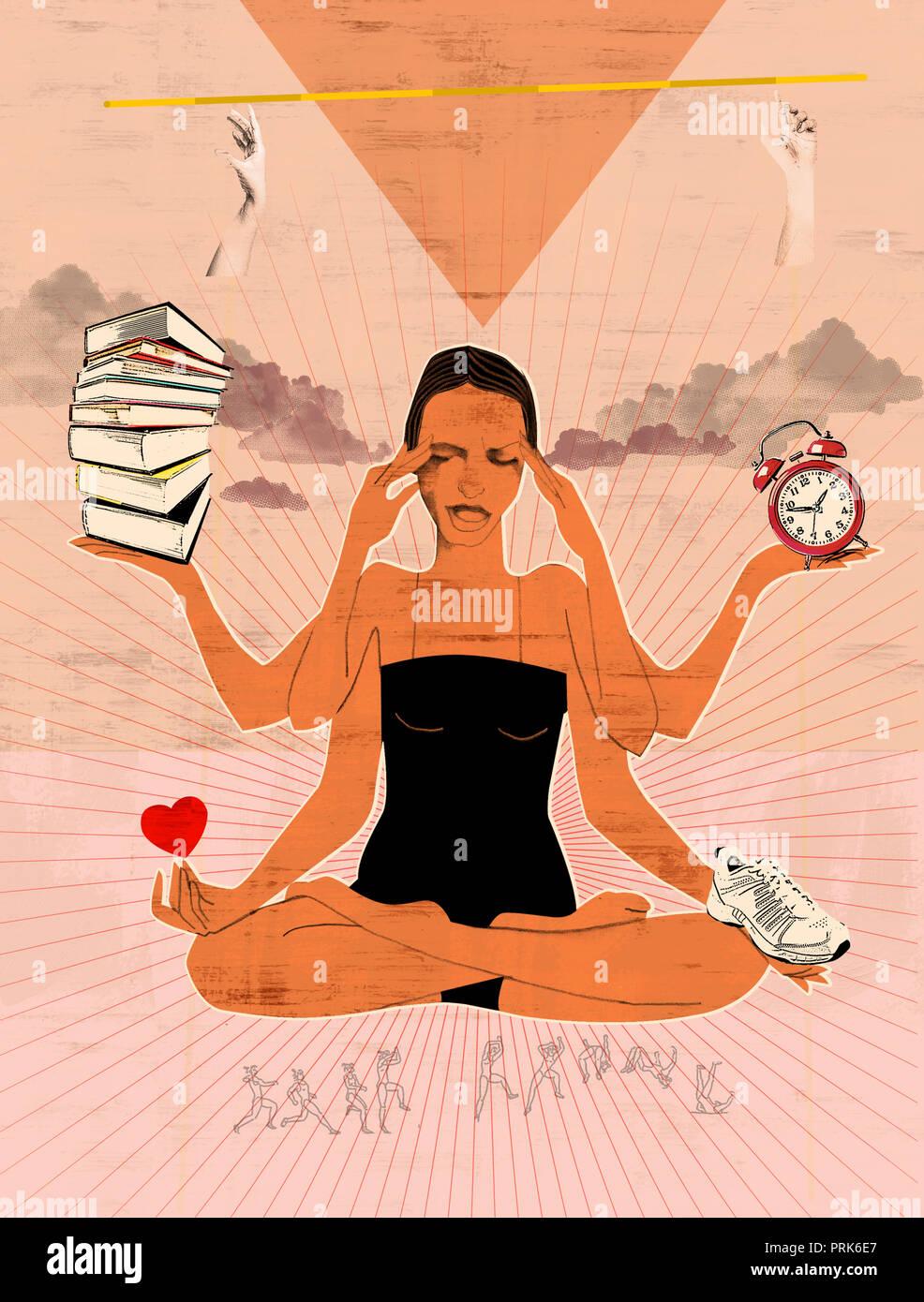 Multitasking überforderten Frau in Yoga lotus Position Stockbild