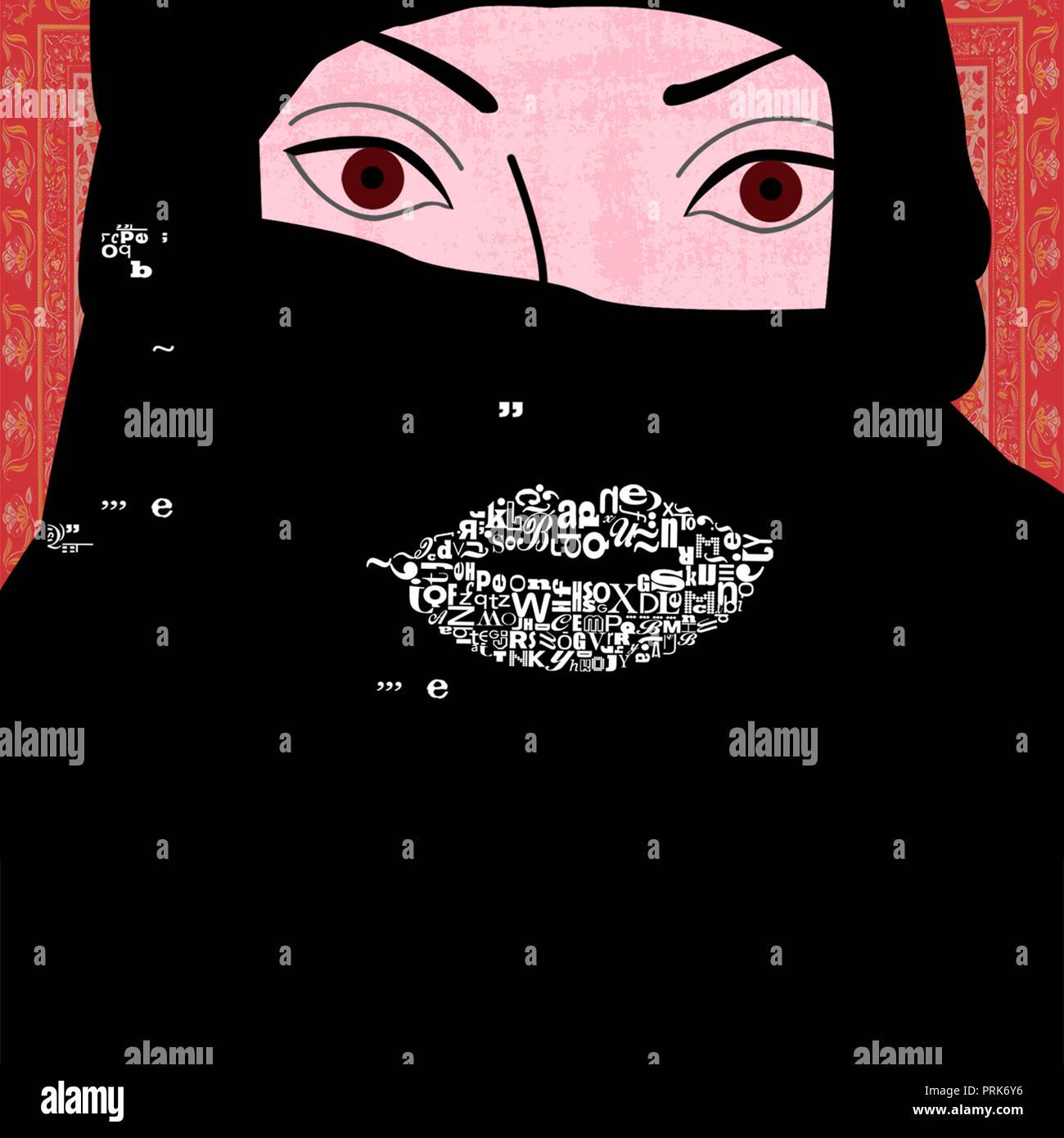 Portrait von Frau hijab tragen Stockbild