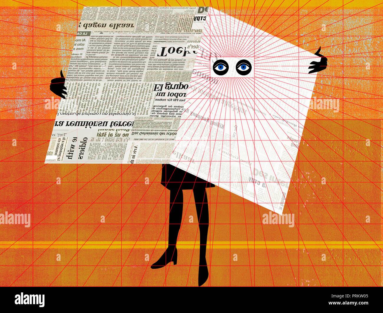 Frau späht durch Zeitung Stockbild