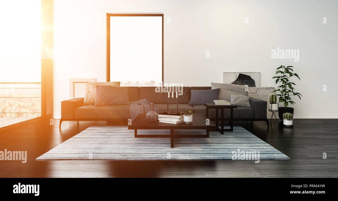 Modernes Wohnzimmer Mit Sofa Mit Kissen Bedeckt Und Gestreiften