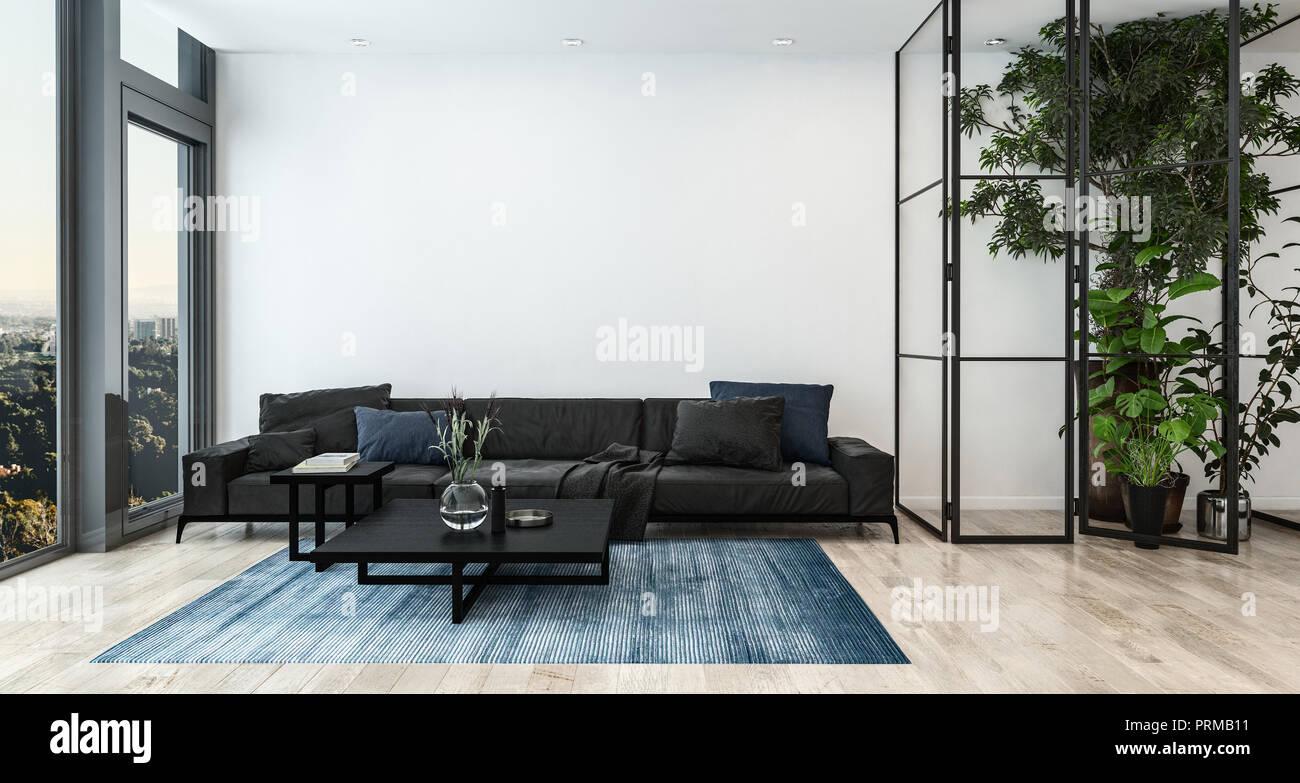Modernes Wohnzimmer Einrichtung mit hohen Zimmerpflanzen und ...