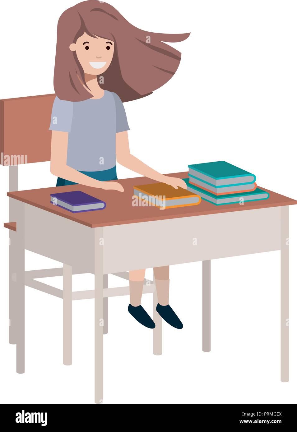 Junge Schüler Mädchen Sitzen In Der Schule Schreibtisch Vektor