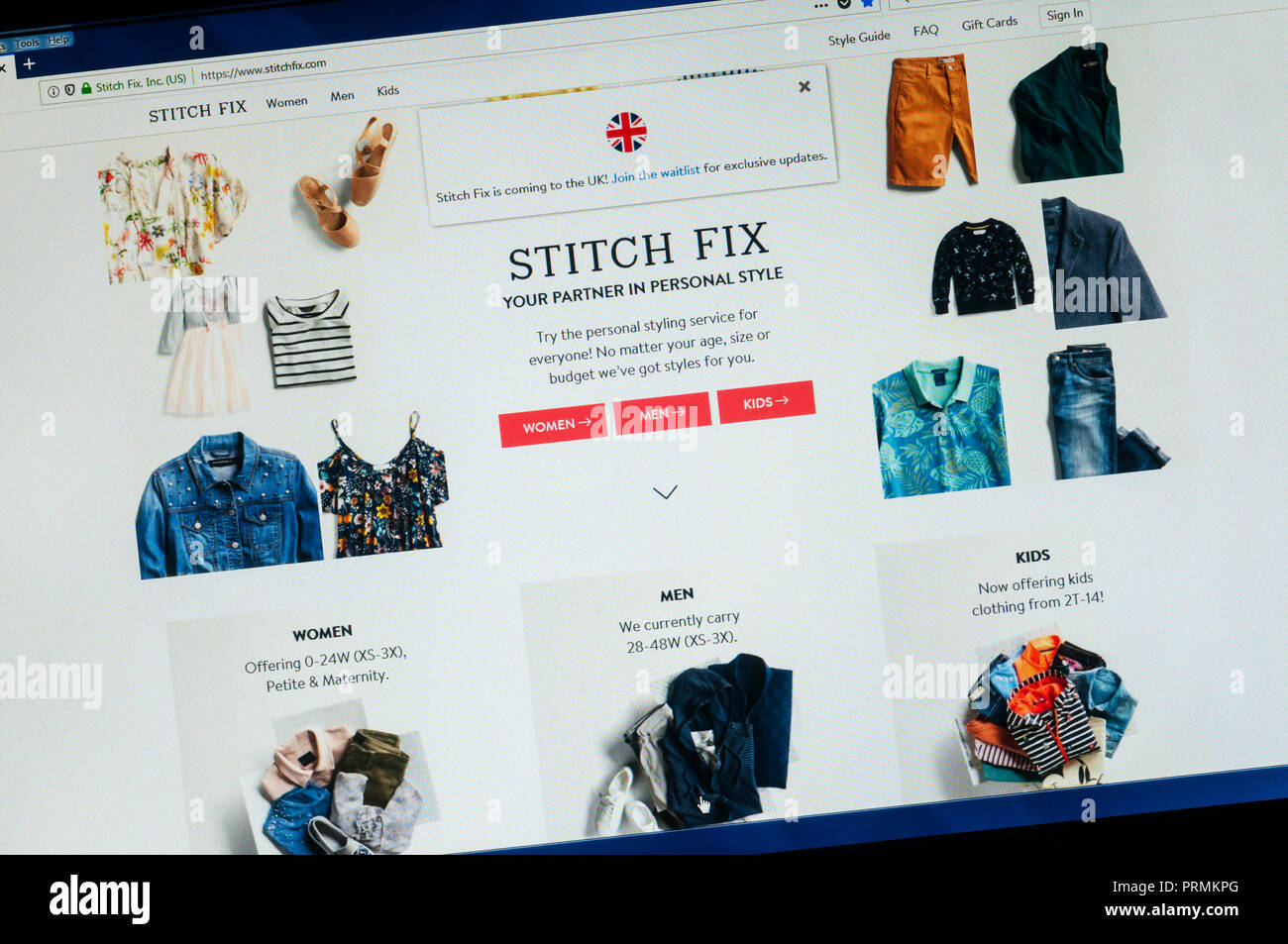 Homepage der American Clothing website Stitch Fix mit Fenster Ankündigung UK kommt. Stockbild
