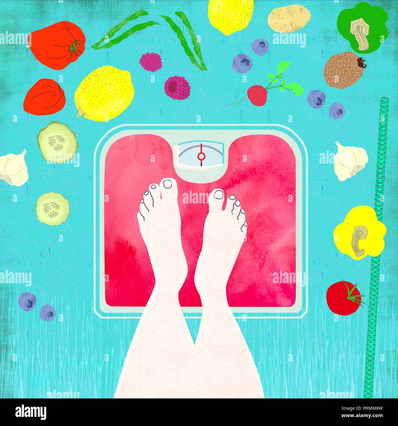 Füße auf einer Waage mit einer gesunden Ernährung Stockbild