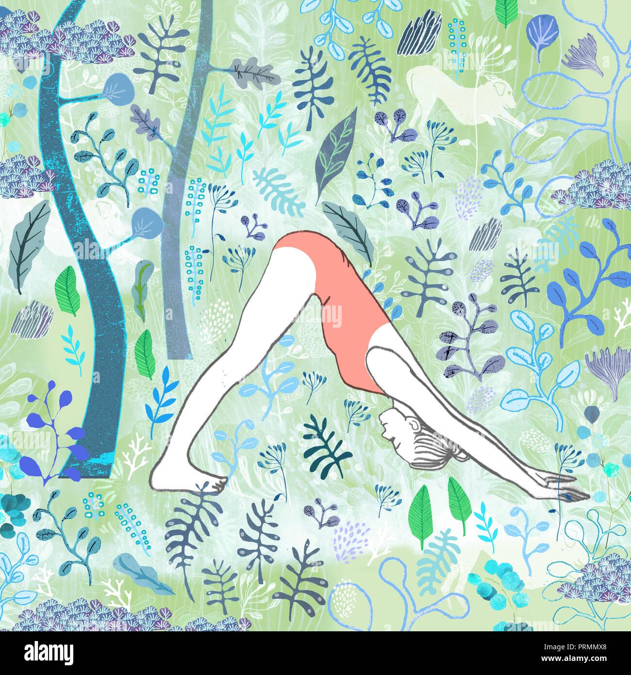 Frau Yoga nach unten schauenden Hund. Stockbild