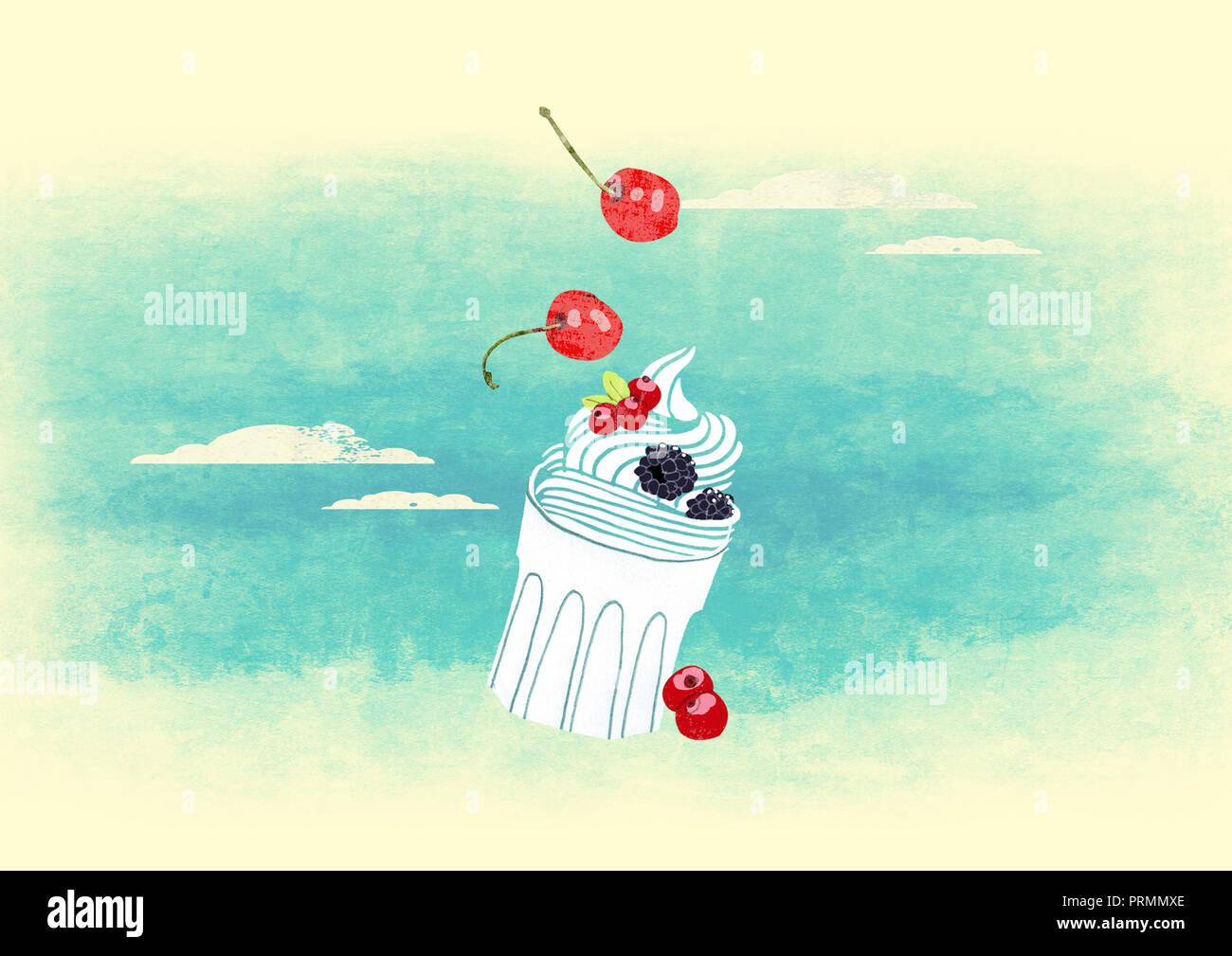 Gesundes Dessert mit Joghurt und Obst Stockbild