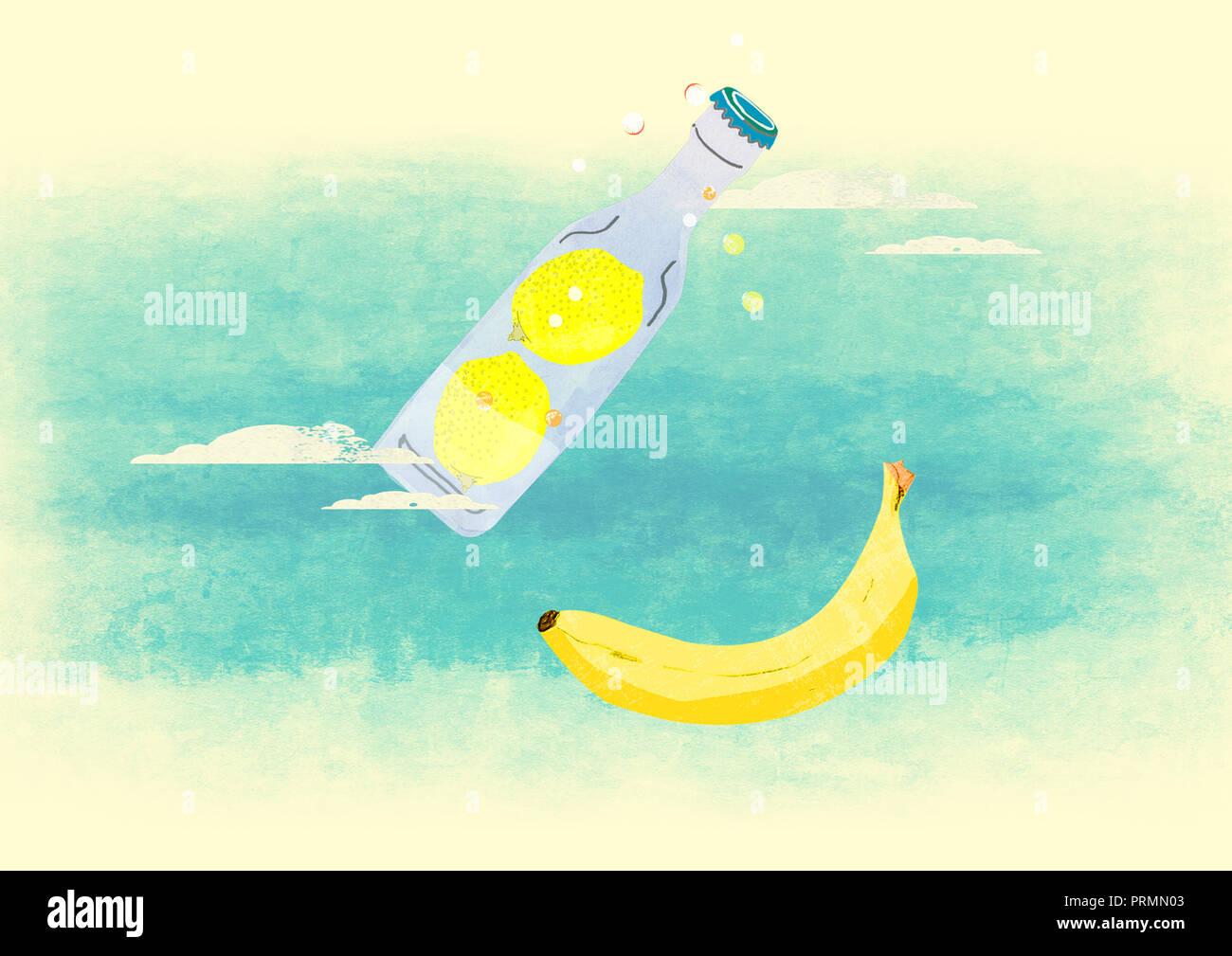 Zitrone trinken und Banane Stockbild