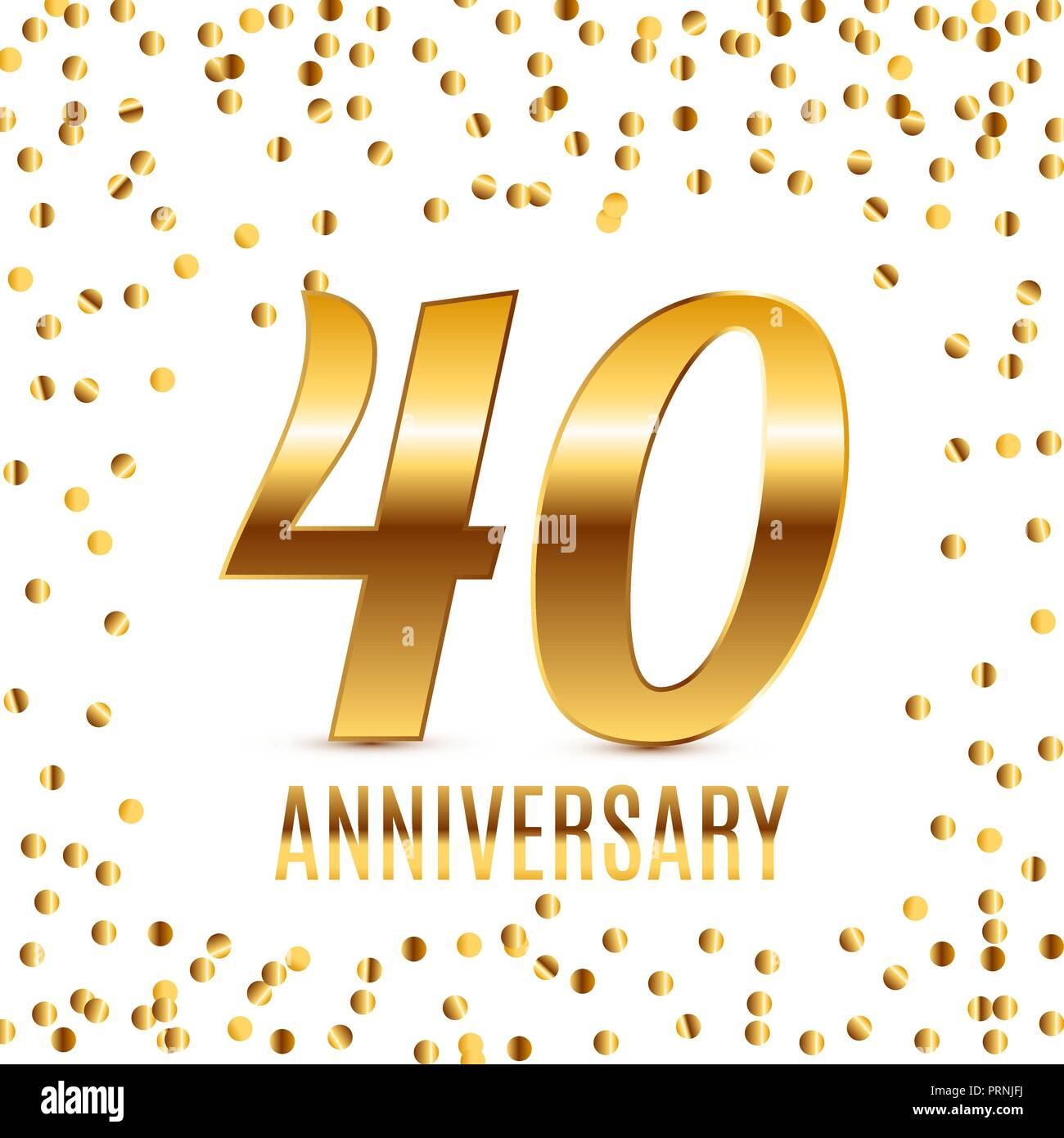 Feiert 40 Jahriges Jubilaum Emblem Template Design Mit Gold Zahlen