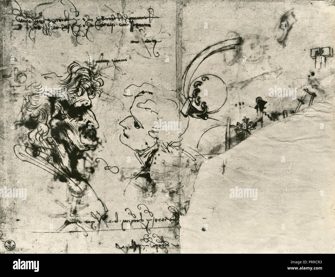 Kopf Studien, Zeichnung von Leonardo da Vinci, 1920 s Stockbild