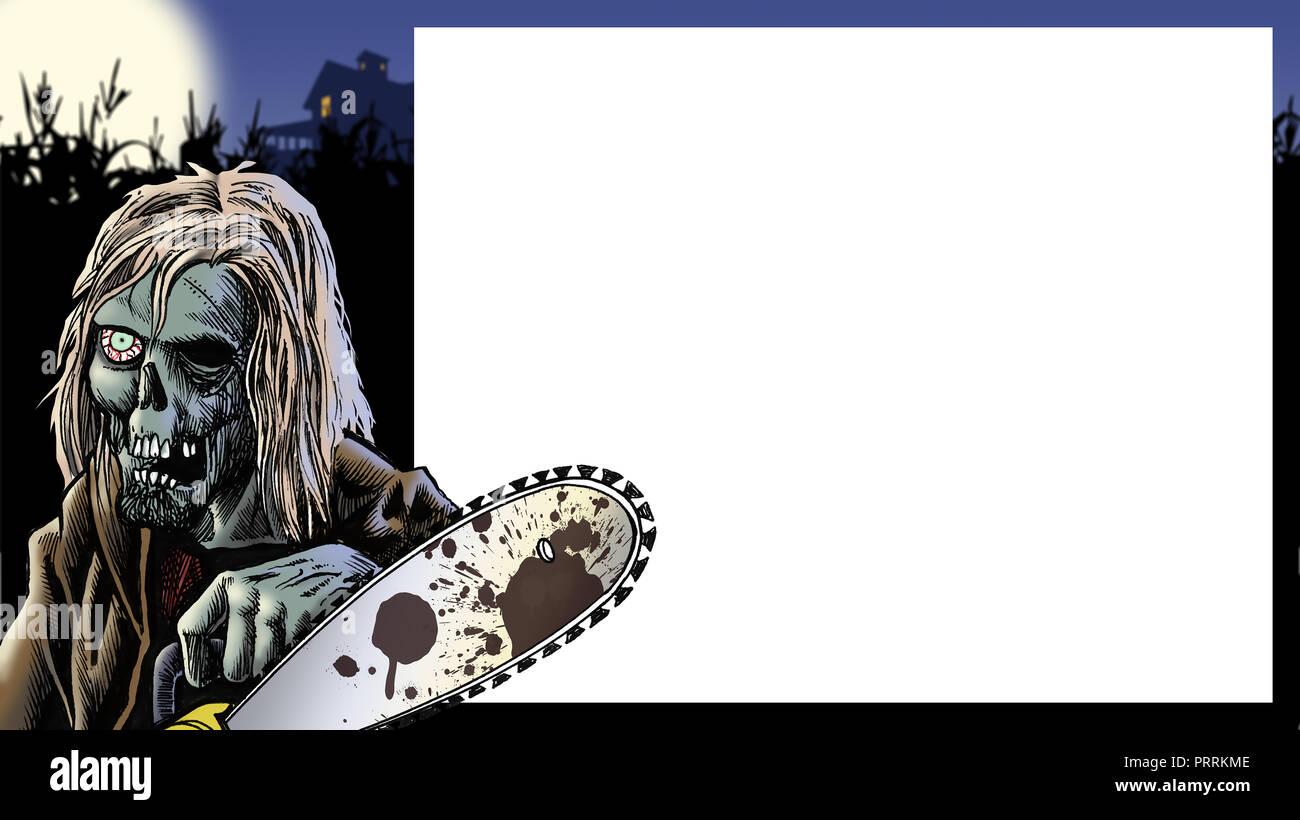 Eine verrückte Halloween wahnsinnigen in einem Mais-labyrinth hält eine Kettensäge zur Ankündigung der erschreckenden Ereignis. Stockbild