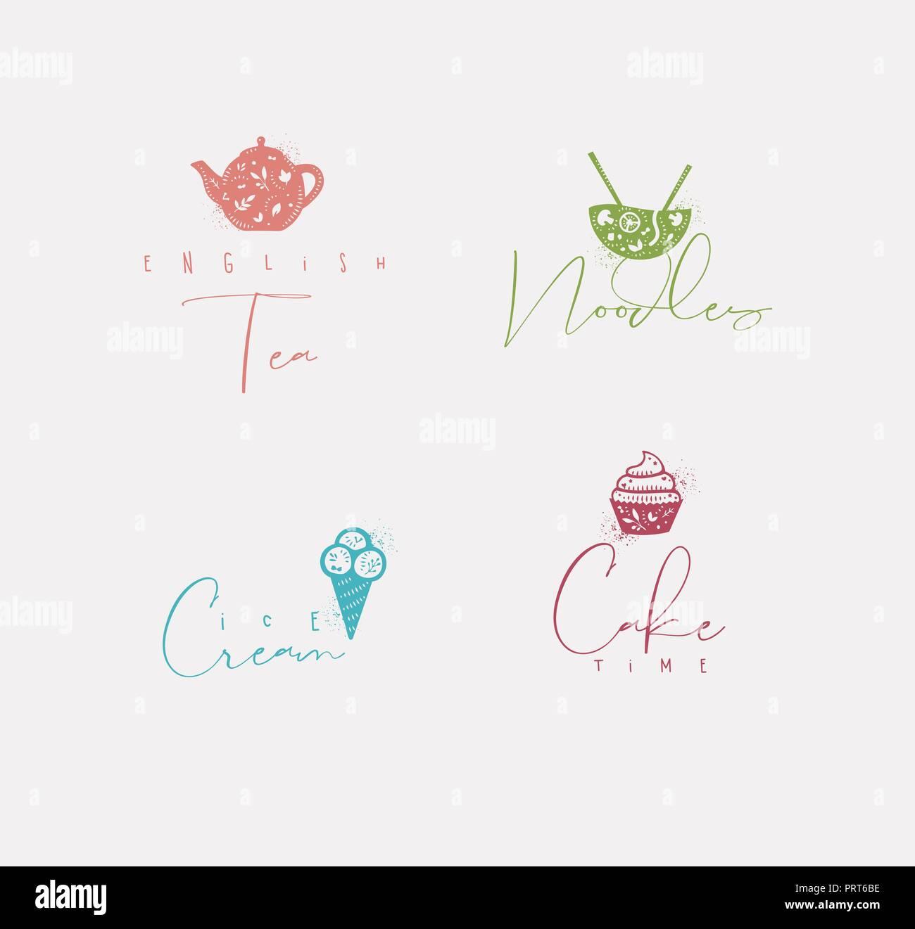 Essen Zeichen Schriftzuge Englischen Tee Nudeln Eis Kuchen Zeit