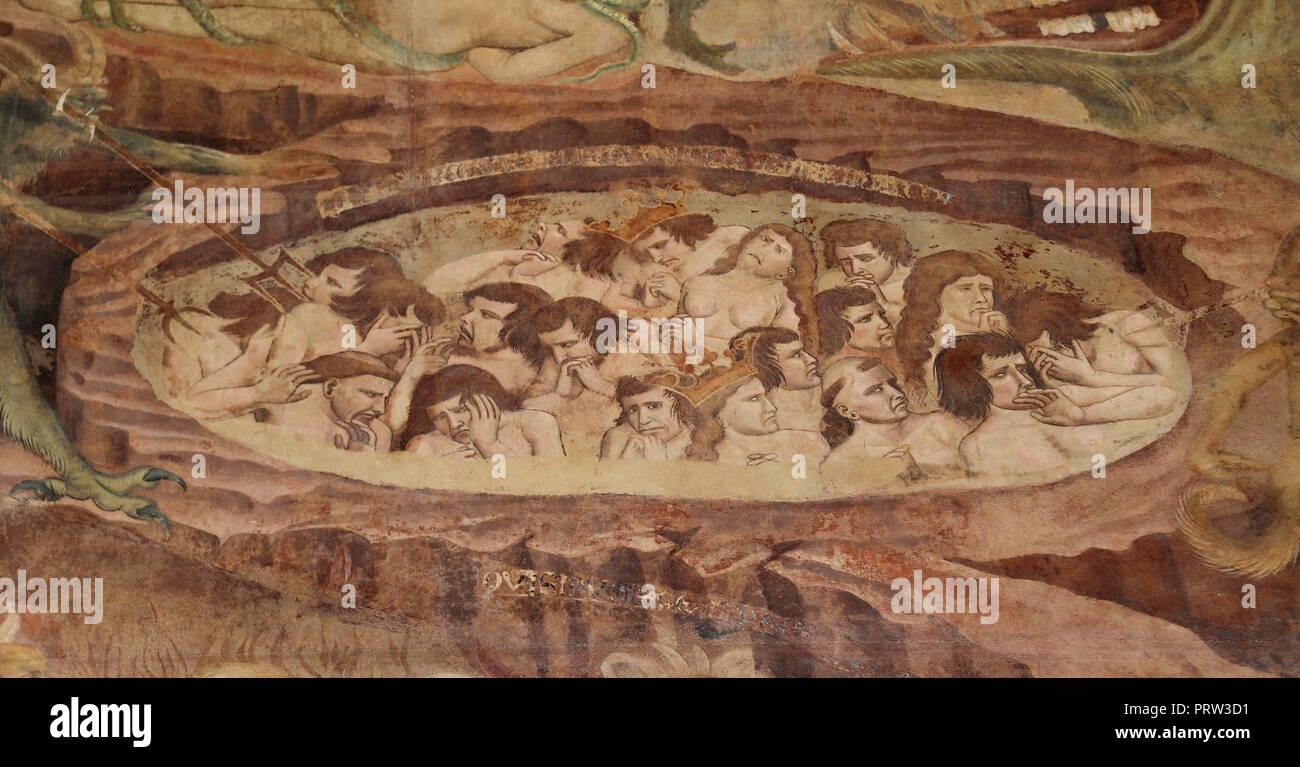 "Buonamico Buffalmacco. Der Triumph des Todes. Detail ""die Hölle"". Quält. 1338-39. Camposanto. Pisa. Italien. Stockbild"