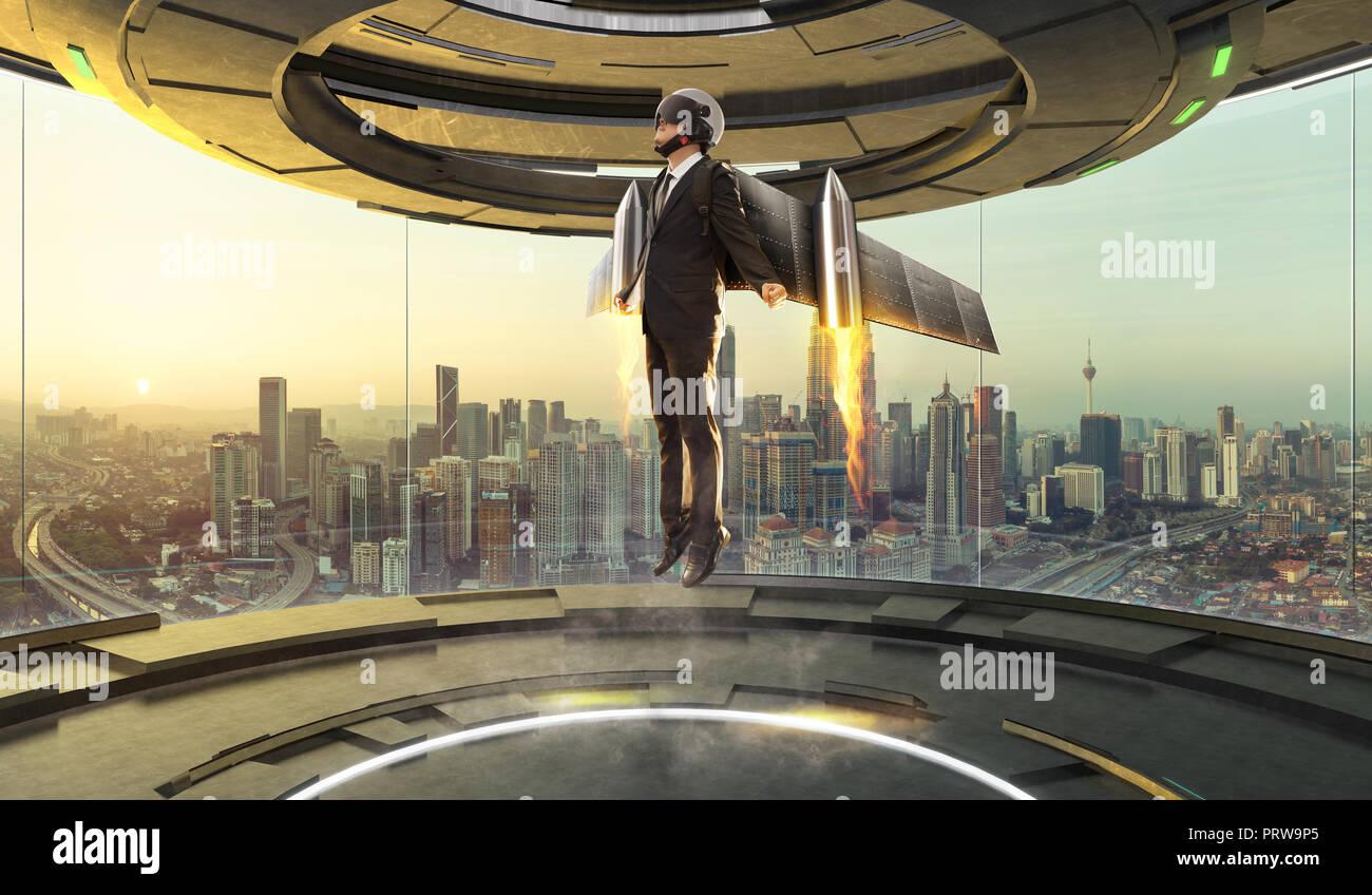 Futuristische Innenarchitektur leeren Raum Zimmer mit Geschäftsmann tragen eine Rakete zu heben. Geschäft Erfolg Konzept. Mixed Media. Stockbild