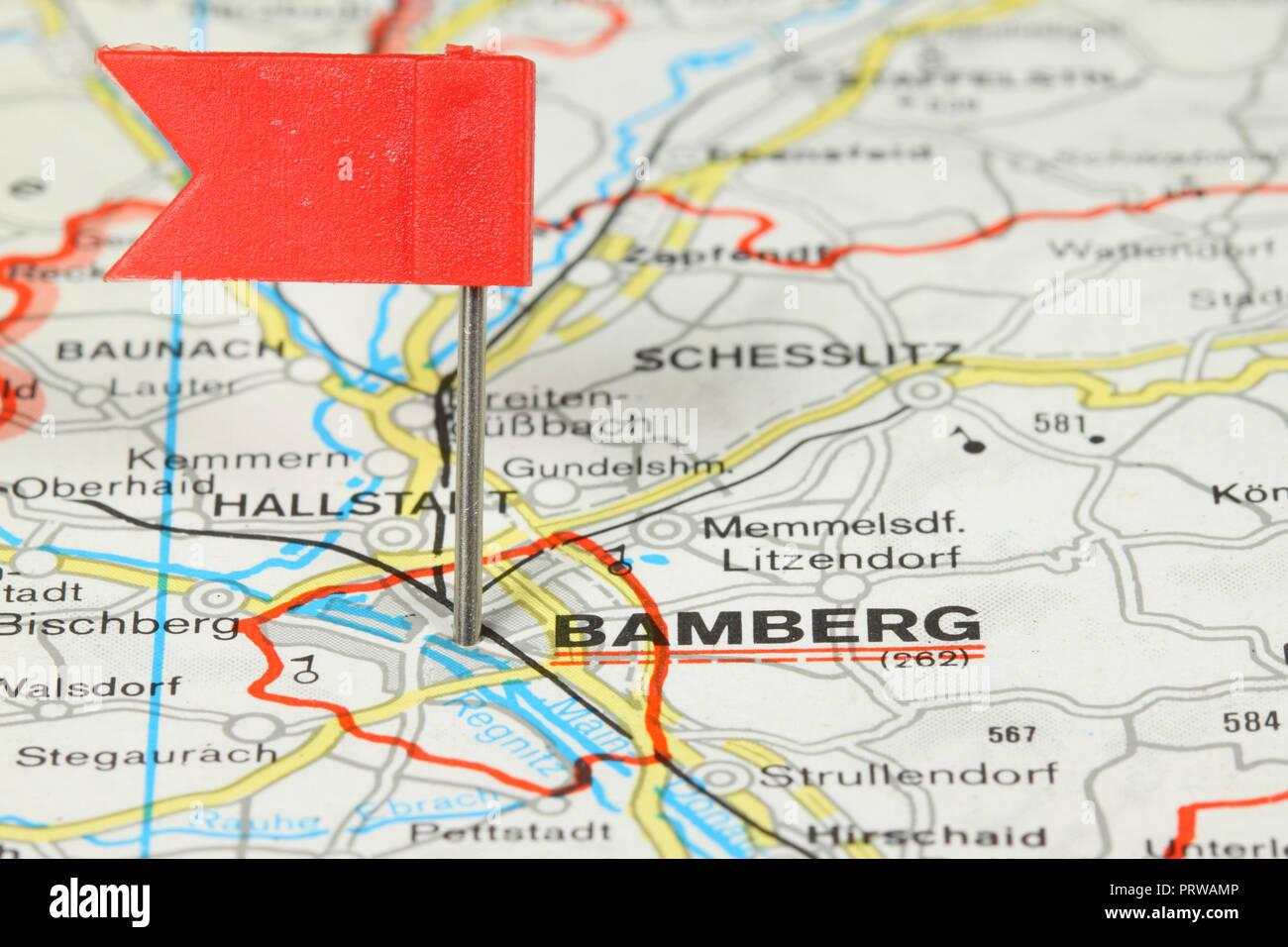 Karte Bamberg.Bamberg Stadt In Deutschland Red Flag Pin Auf Einer Alten