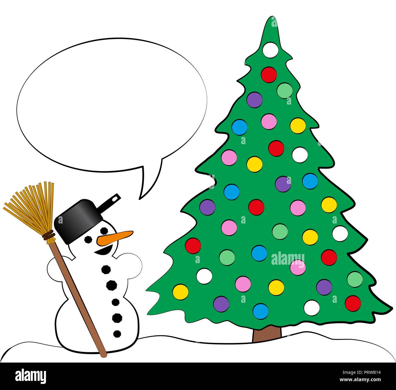 Weihnachtsbaum Comic.Weihnachtsbaum Mit Vielen Bunten Weihnachtskugeln Und Ein
