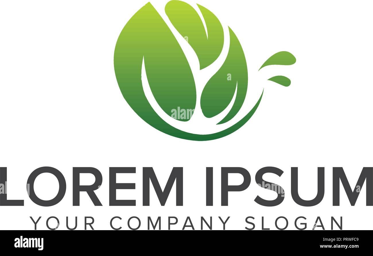 Naturliche Leaf Logo Garten Und Landschaftsbau Logo Design Konzept