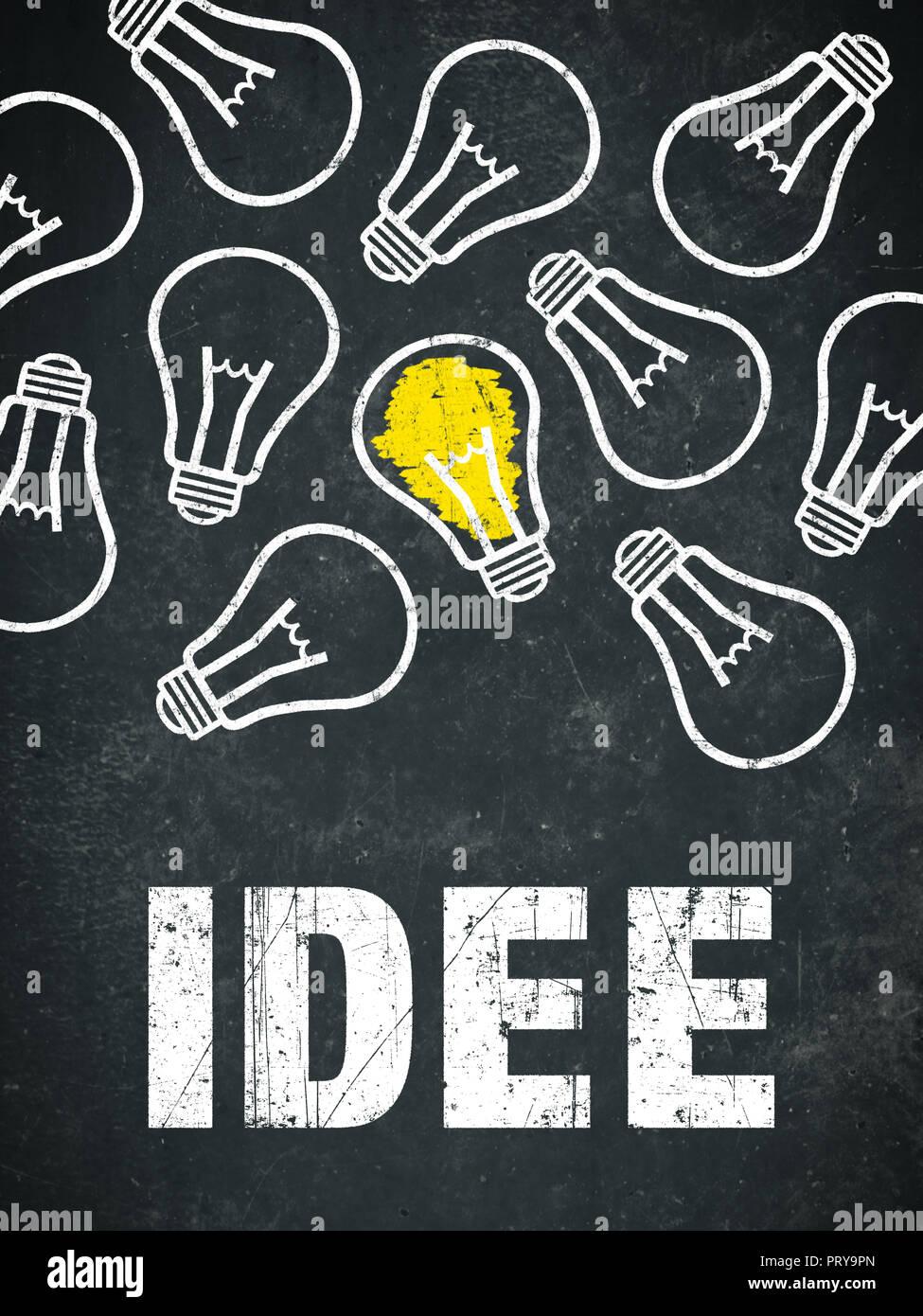 """Banner """"Idee"""" in deutscher Sprache. Übersetzung: Idee Stockbild"""