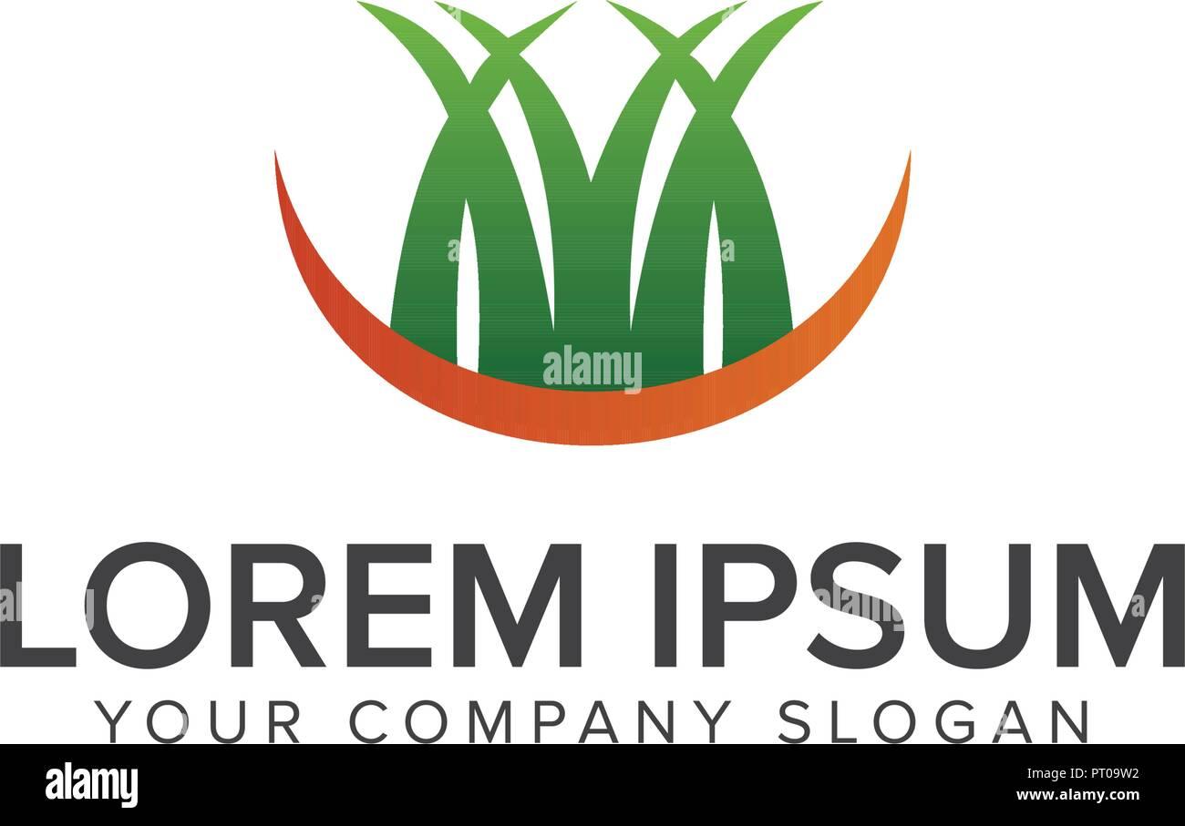 Gras Logo Landschaftsbau Garten Logo Design Konzept Vorlage Vektor