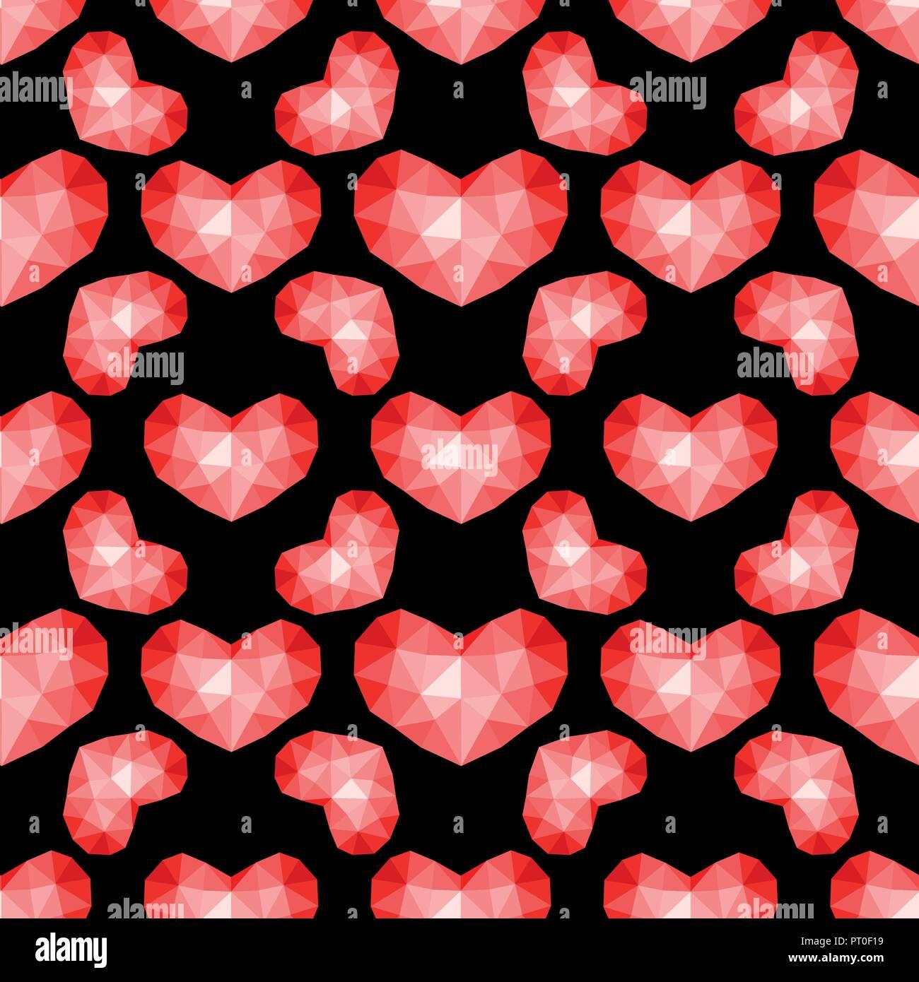 Vektor nahtlose Muster. Abstrakt wiederholende Textur mit chaotischen Herzen. Stilvolle hipster Textur. Stockbild