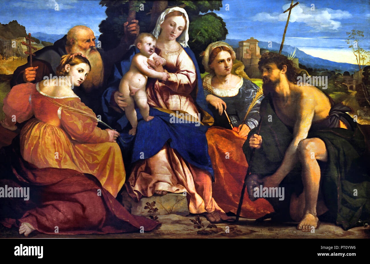 Maria mit dem Kind und Heiligen 1520 - 1522 Palma Vecchio (1480-1528) Maler des 15. Jahrhunderts Venedig Italien Stockbild