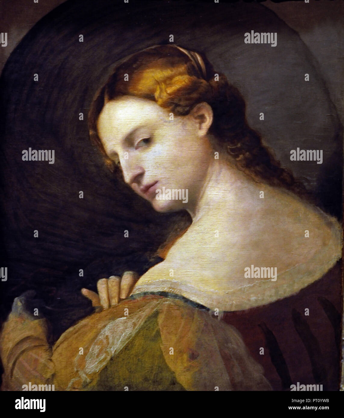 Junge Frau im Profil 1520 Palma Vecchio (1480-1528) Maler des 15. Jahrhunderts Venedig Italien Stockbild