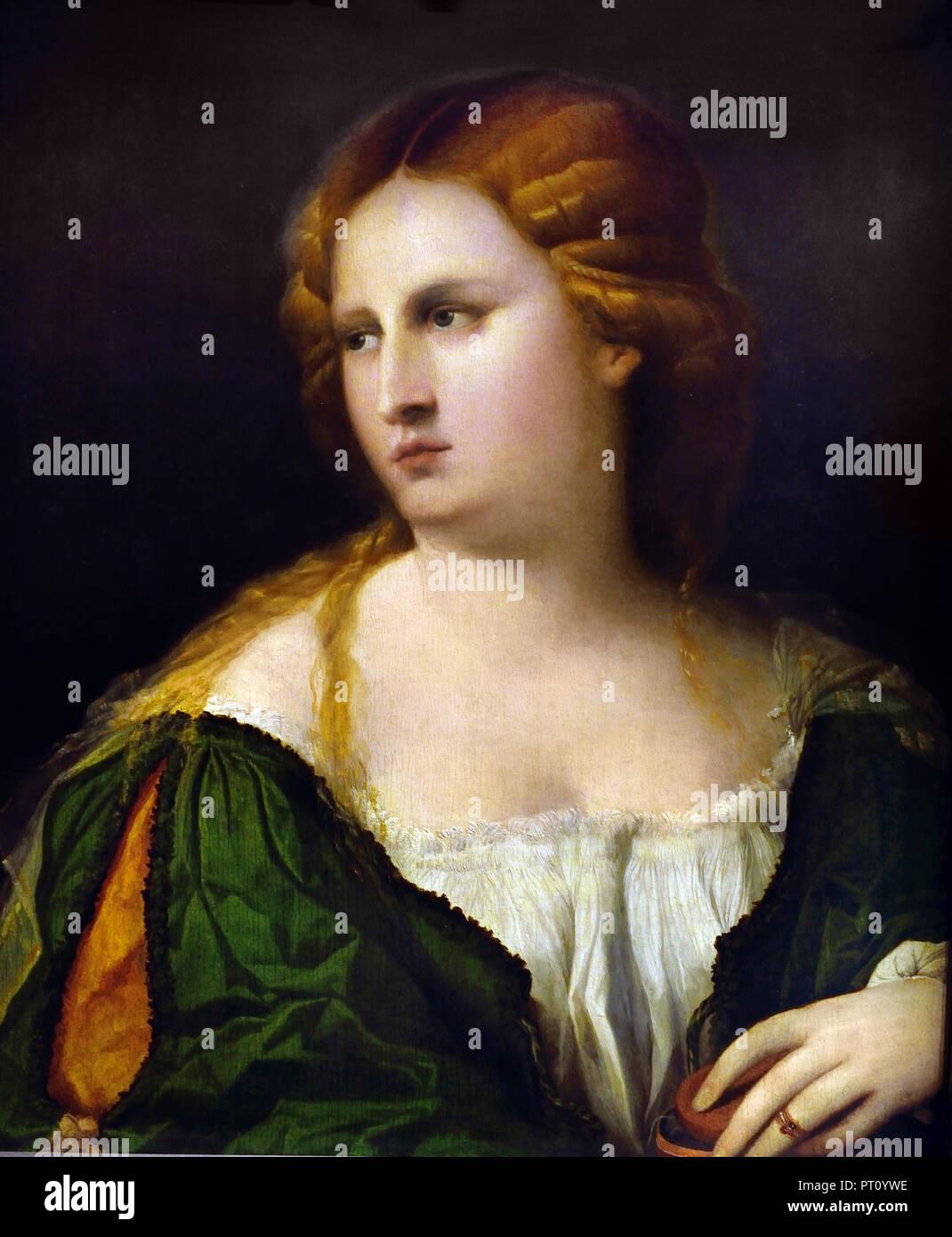 Junge Frau im grünen Kleid 1512 Palma Vecchio (1480-1528) Maler des 15. Jahrhunderts Venedig Italien Stockbild