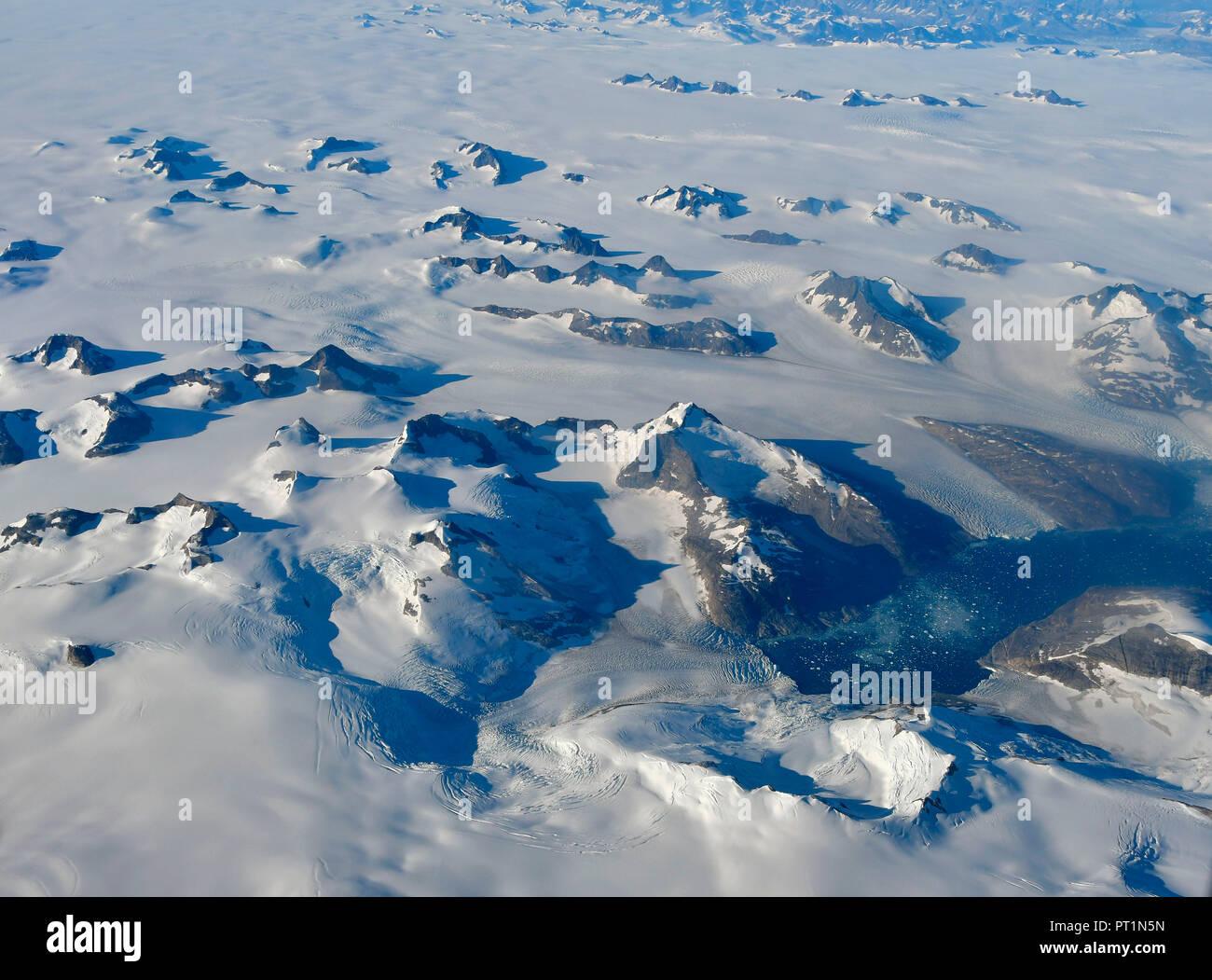Eis aus dem Flugzeug, Grönland Stockbild