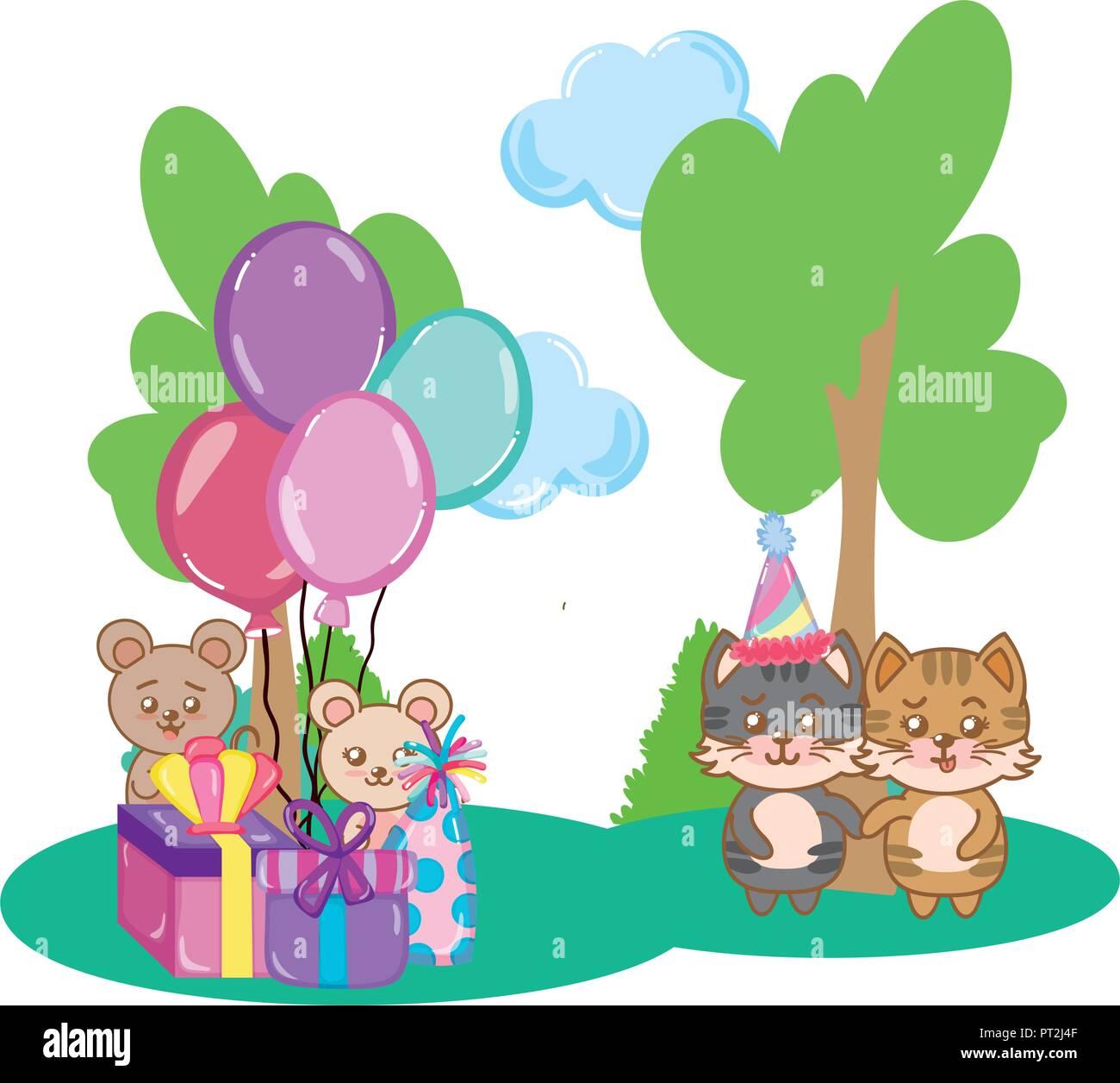 Geburtstag Tiere Partei Vektor Abbildung Bild 221334303 Alamy