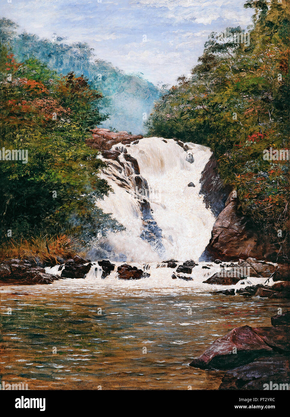 Jose Ferraz de Almeida Junior, Votorantim Wasserfall 1893 Öl auf Leinwand, Pinacoteca do Estado de Sao Paulo, Sao Paulo, Brasilien. Stockfoto