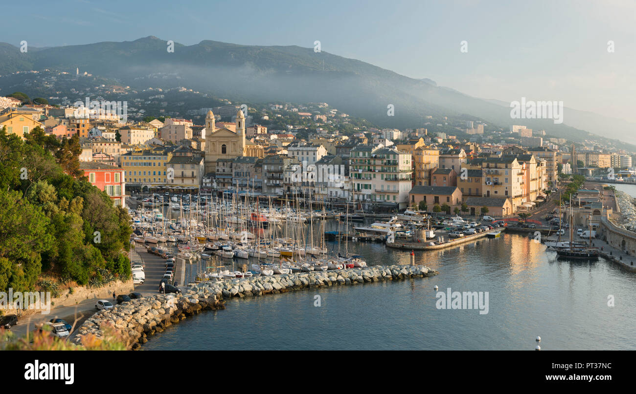 Blick auf den Hafen von Bastia, Haute Corse, Corsica, Frankreich Stockbild