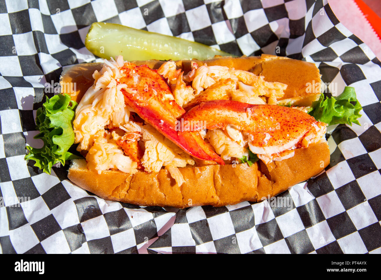 Lobster Roll in Charlotte's legendäre Lobster Pound Restaurant, Seawall, Maine Stockbild