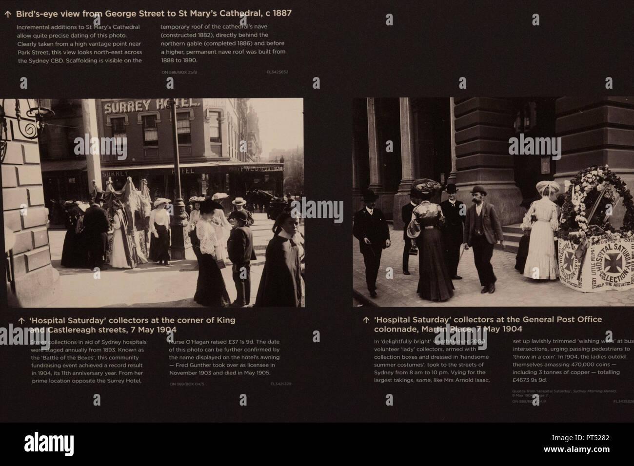 """Sydney, Australien. 6. Okt 2018. 100 Jahre alte Bilder von Sydney """"moderne Klassiker"""" zu werden außergewöhnliche Jahrhundert-alte Bilder von Sydney im Übergang auf öffentliche Anzeige für die erste Zeit, in der die staatliche Bibliothek des NSW wichtige neue Galerien der Öffentlichkeit heute [ Samstag 6. Oktober] gehen. Bei der Sammlung der Macpherson Familie von 688 Glasplatten negative Begabte in der Bibliothek waren, wurde es bald klar, Kurator, Margot Riley, dass diese bislang noch nie gesehene Bilder von Sydney und NSW"""" waren dazu bestimmt, moderne Klassiker zu werden."""" Quelle: Paul Lovelace/Alamy leben Nachrichten Stockbild"""