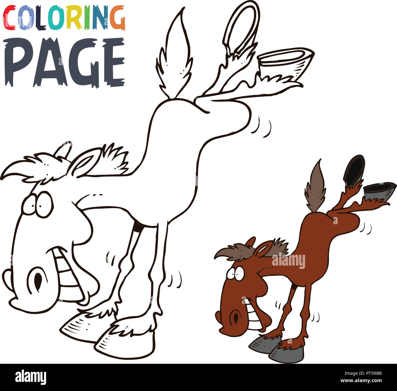 Pferd cartoon Färbung Seite Stock Vektor