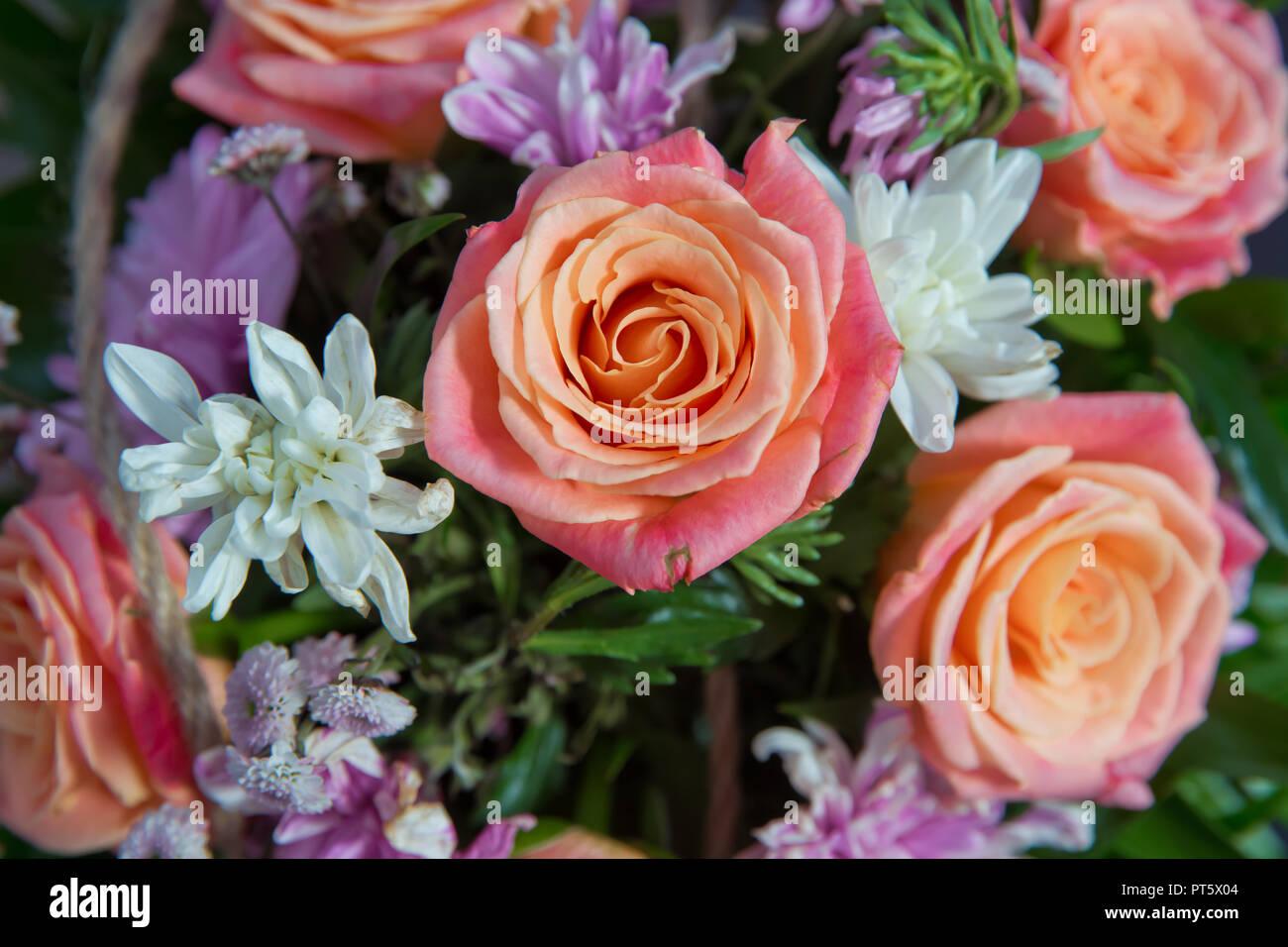 Bunte Rosen In Einer Blumigen Hochzeit Dekoration Schonen