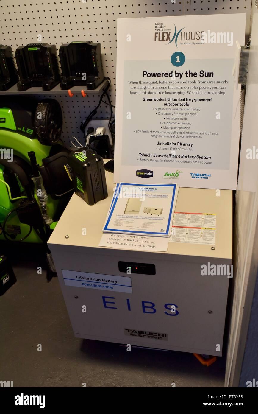 Nachhaltige Prototyp Flexhouse mit nachhaltiger und Smart Home Design & Energieeinsparung, auf der CES (Consumer Electronics Show) in Las Vegas, USA. Stockbild